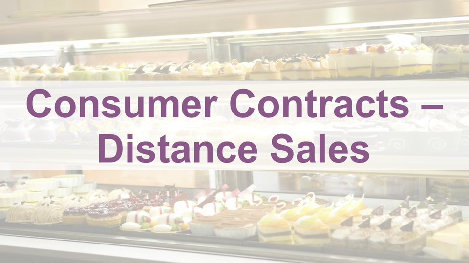 Consumer Contracts Distance Sales
