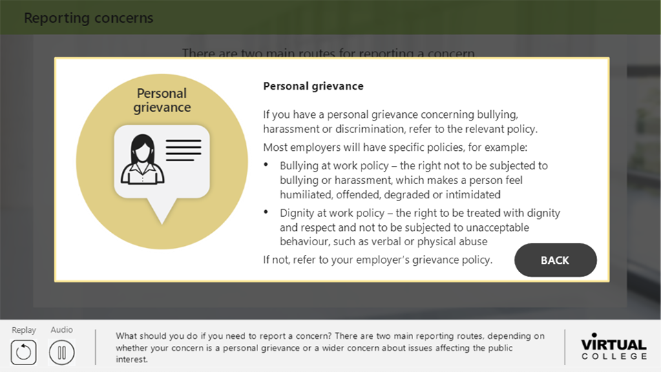 Reporting concerns personal grievance