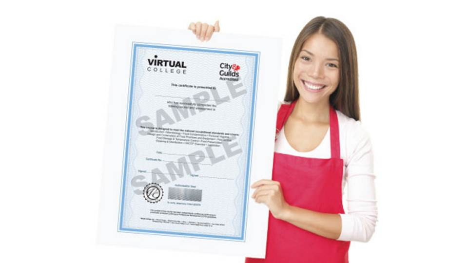 Woman holding food hygiene certificate