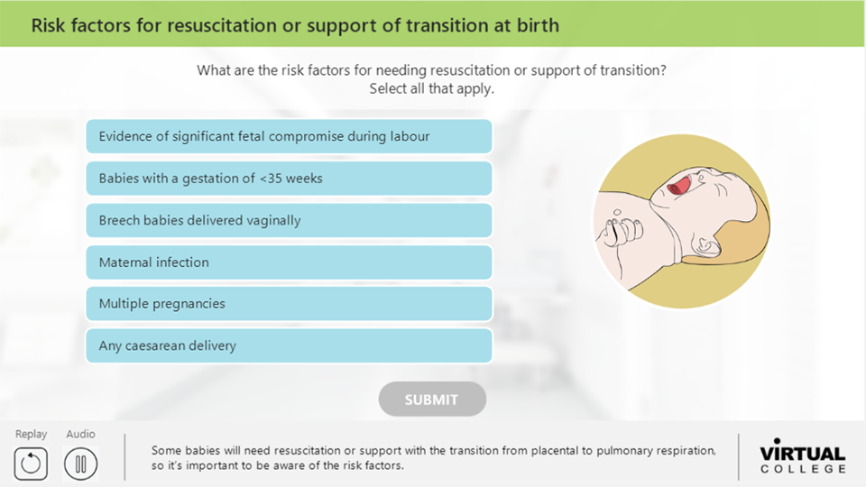 Risk factors for resucitation of transition at birth