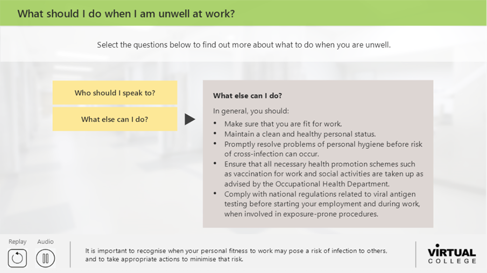 What should I do when I am unwell at work?