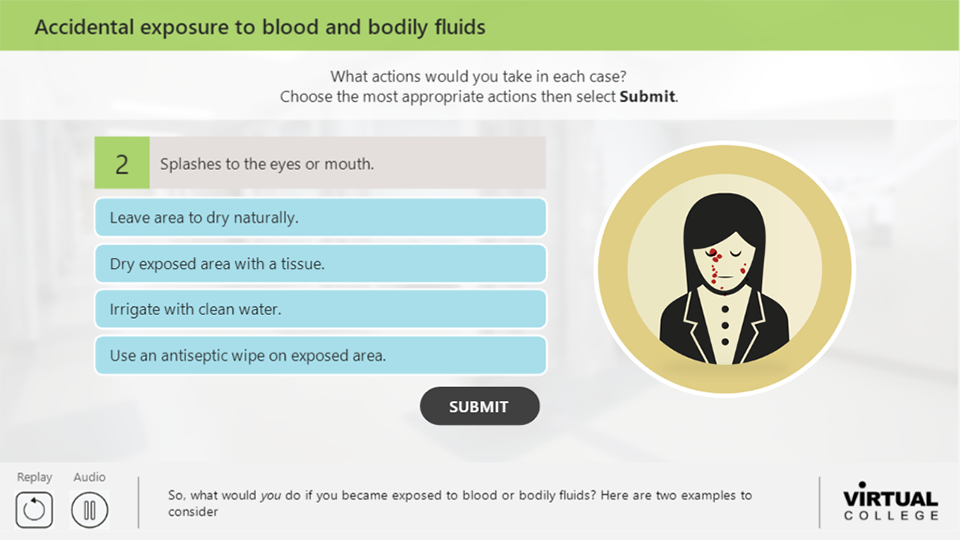 Accidental exposure to blood and bodily fluids
