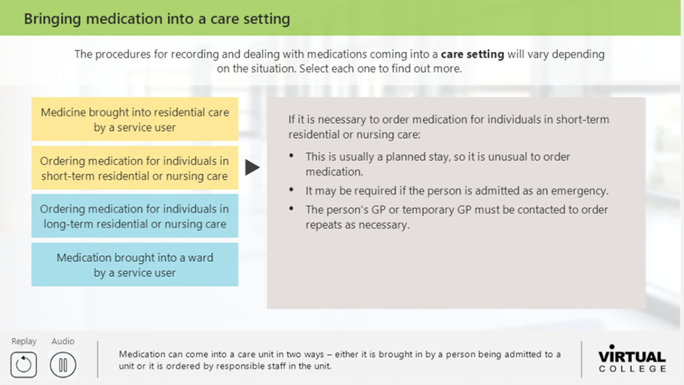 Bringing medication into a care setting