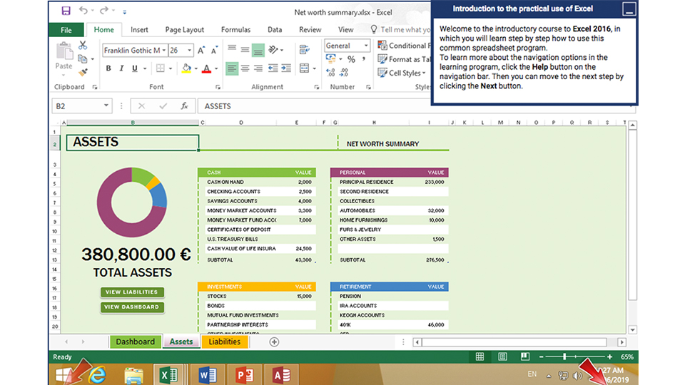 MS Excel intro screenshot