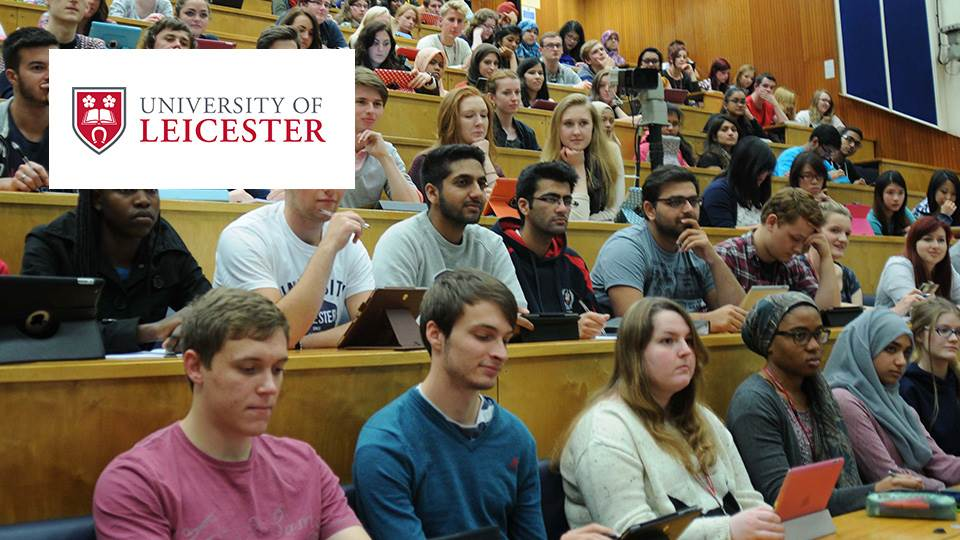 lecture hall with leicester logo