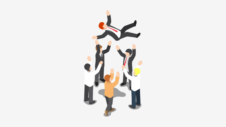 Cartoon of manager being thrown in the air