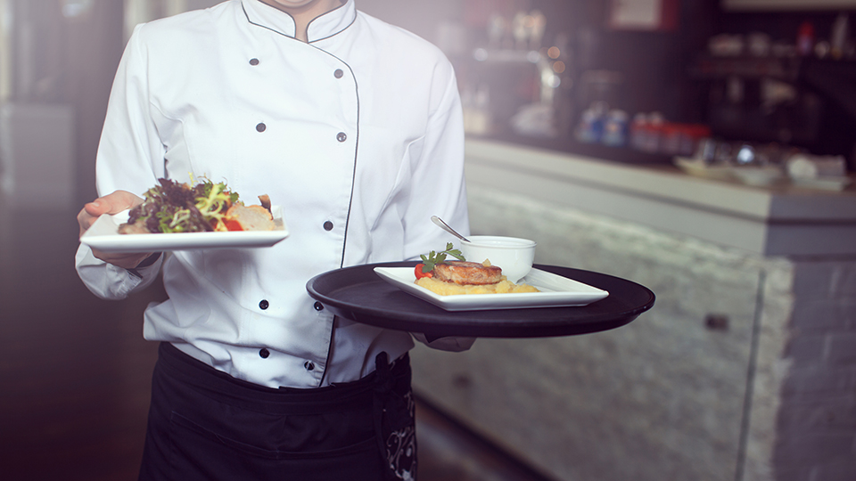 waiter carrying food