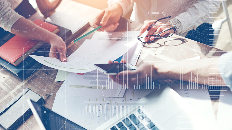Business meeting with hands and computer
