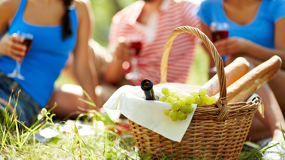 Picnic with wine, grapes and bread