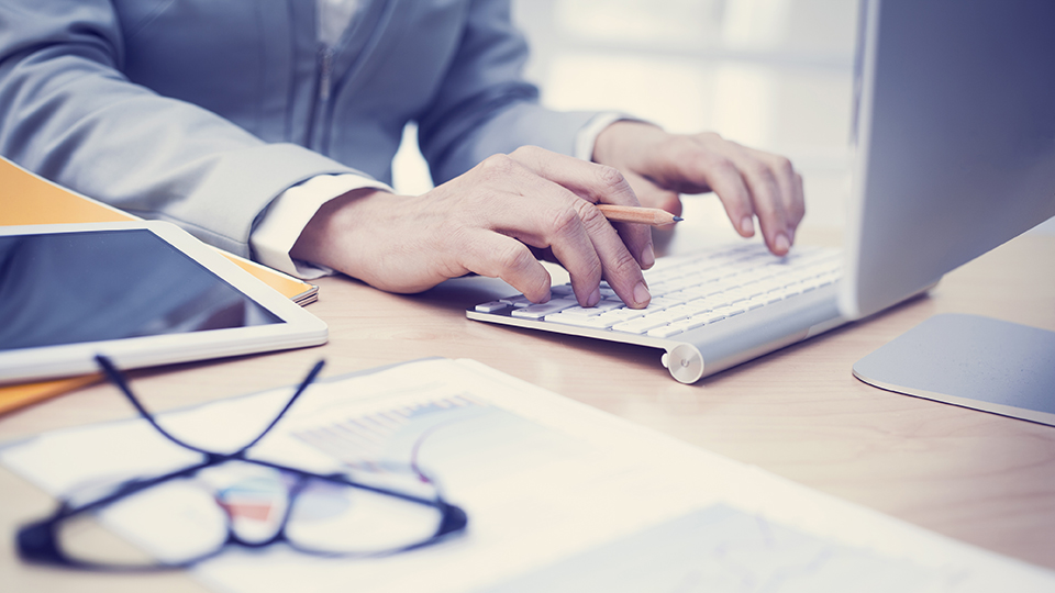 Business man at computer